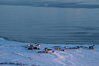View over village of Hov from Hoven in winter, Gimsøy, Lofoten Islands, Norway