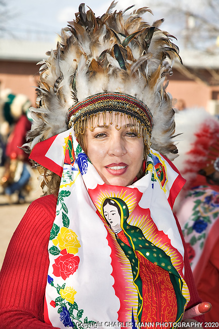 A Guadalupana, or dancer, at the 2009 celebration of the Virgin of Guadalupe Feast Day at the village of Tortugas, near Las cruces, New Mexico.
