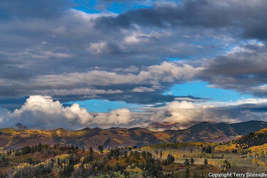 Uncompahgre National Forest, Colorado: Clearing storm clouds,  autumn
