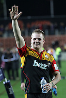 Chiefs' Sam Cane celebrates defeating the Crusaders in the semi-final Super Rugby match, Waikato Stadium, Hamilton, New Zealand, Friday, July 27, 2012.  Credit:SNPA / David Rowland