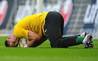 2. Oktober 2011: Muenchen, Allianz Arena: Fussball 2. Bundesliga, 10. Spieltag: TSV 1860 Muenchen - SG Dynamo Dresden: Dresdens Torwart Wolfgang Hesl pariert einen Schuss.