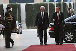 United Nations Secretary General Ban Ki-moon walks alongside Palestinian foreign minister Riyad al-Malki as he arrives at the Muqataa, the Palestinian Authority headquarters, in the West Bank city of Ramallah, on June 28, 2016. Ban is on an official visit to Israel and the Palestinian territories. Photo by Shadi Hatem