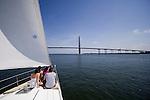 Family sailing sailboat charleston harbor bridge cooper river