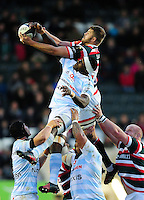 Ed Slater of Leicester Tigers and Yannick Nyanga of Racing 92 compete for the ball at a lineout. European Rugby Champions Cup match, between Leicester Tigers and Racing 92 on October 23, 2016 at Welford Road in Leicester, England. Photo by: Patrick Khachfe / JMP