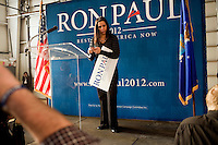 Stage managers for Ron Paul take down the stage after a rally at Jet Aviation in Nashua, New Hampshire, on Jan. 6, 2012.  Paul is seeking the 2012 GOP Republican presidential nomination.