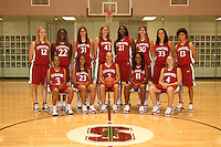 6 October 2005: Team photo: Morgan Clyburn, Kristen Newlin, Shelley Nweke, Brooke Smith, Jillian Harmon, Christy Titchenal, Cissy Pierce, Rosalyn Gold-Onwude, Krista Rappahahn, Candice Wiggins, Clare Bodensteiner, Eziamaka Okafor, and Markisha Coleman at the Arrillaga Family Sports Center in Stanford, CA. (not in order)