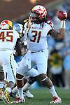 24 November 2012: Maryland linebacker turned quarterback Shawn Petty makes a pass. The University of North Carolina Tar Heels played the University of Maryland Terrapins at Kenan Memorial Stadium in Chapel Hill, North Carolina in a 2012 NCAA Division I Football game. UNC won 45-38.