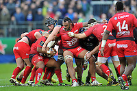 Jocelino Suta of Toulon competes with Charlie Ewels of Bath Rugby for the ball. European Rugby Champions Cup match, between Bath Rugby and RC Toulon on January 23, 2016 at the Recreation Ground in Bath, England. Photo by: Patrick Khachfe / Onside Images