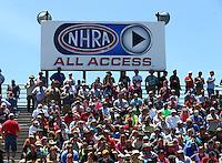 May 15, 2016; Commerce, GA, USA; An NHRA All Access billboard is visible behind fans in the grandstands during the Southern Nationals at Atlanta Dragway. Mandatory Credit: Mark J. Rebilas-USA TODAY Sports