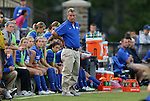 20 September 2012: Duke head coach Robbie Church. The University of Maryland Terrapins played the Duke University Blue Devils to a 2-2 tie after overtime at Koskinen Stadium in Durham, North Carolina in a 2012 NCAA Division I Women's Soccer game.