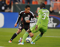 DC United midfielder Andy Najar (14) goes against Seattle Sounder defender John Kennedy Hurtado (34)   DC United defeated The Seattle Sounders 2-1, at RFK Stadium, Wednesday  May 4, 2011.
