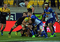 Ardie Savea drives for the line during the Super Rugby match between the Hurricanes and Stormers at Westpac Stadium in Wellington, New Zealand on Friday, 5 May 2017. Photo: Dave Lintott / lintottphoto.co.nz