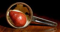 Red Pear in Metal Pot