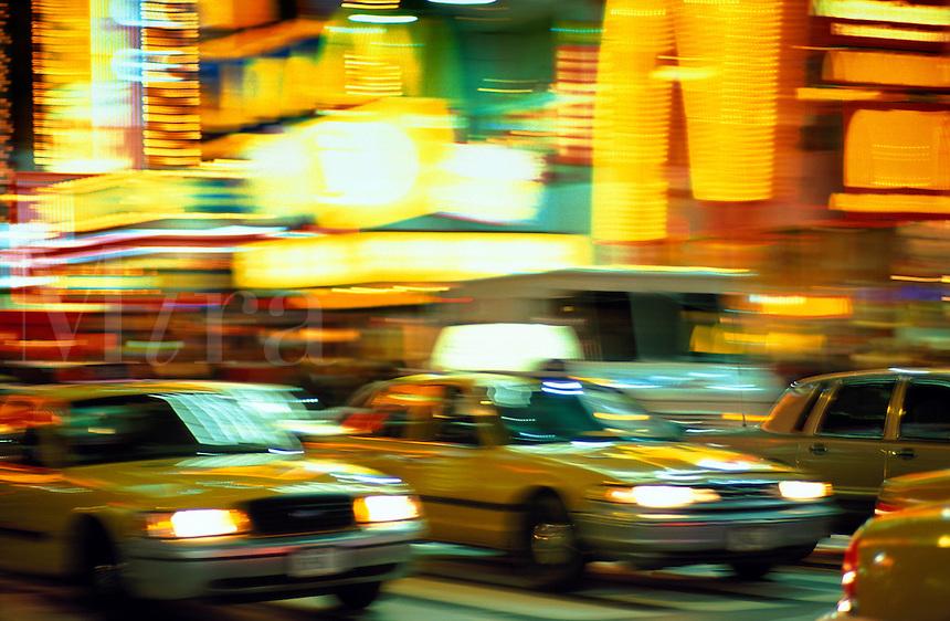 USA, New York, NYC. Taxis on Broadway
