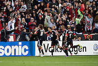 Nick DeLeon (18) of D.C. United celebrates his goal with his teammates in front of fans at RFK Stadium in Washington DC.   Dallas FC fell to D.C. United, 4-1.