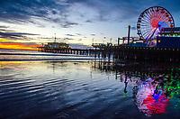 Santa Monica Beach at sunset on Friday, November 22, 2013.