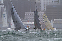 Karma Police leads M1 out of the start at the Wellington restart of Round North Island two-handed yacht race. Wellington, New Zealand. 2 March 2011. Photo: Gareth Cooke/Subzero Images