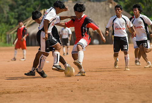 Xingu Indigenous Park, Mato Grosso State, Brazil. Aldeia Matipu. Football match between Kalapalo and Matipu villages, best teams in the region, even against non indians.