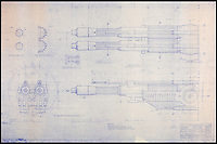 BNPS.co.uk (01202 558833)<br /> Pic: PropStore/BNPS<br /> <br /> Star Wars - Ep VI - Return Of The Jedi: Shuttle Wing Cannon Exterior Blueprint.<br /> <br /> Fascinating blueprints from the early Star Wars and Star Trek films have been unearthed.<br /> <br /> An auction house is selling a selection of blueprints which include front elevations of R2-D2, interior and exterior set renderings of the Millennium Falcon and front, side and bottom views of the USS Enterprise as well as USS Enterprise set plans.<br /> <br /> The blueprints - many of which have never before been seen by the public - provide a unique insight to fans of the iconic films about how they were made.