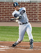 New York Yankees first baseman Mark Teixeira (25) singles in the first inning scoring Derek Jeter (2) against the Baltimore Orioles at Oriole Park at Camden Yards in Baltimore, MD on Monday, April 9, 2012..Credit: Ron Sachs / CNP.(RESTRICTION: NO New York or New Jersey Newspapers or newspapers within a 75 mile radius of New York City)
