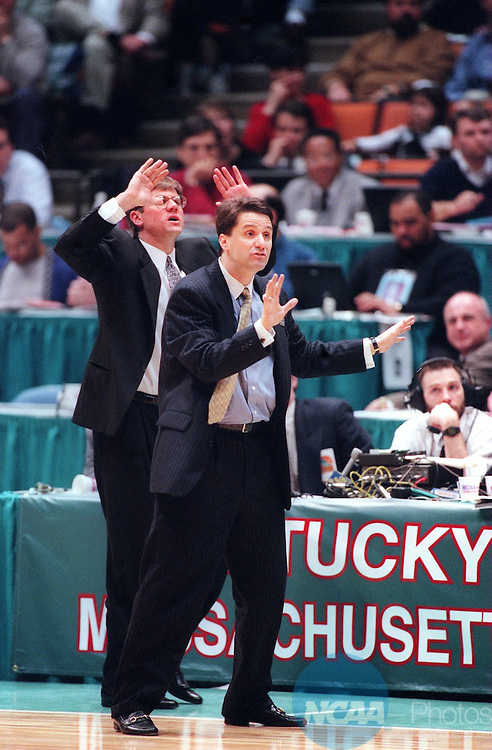 Caption: 30 MAR 1996: University of Massachusetts coach John Calipari instructs his team during the NCAA National Basketball Championship semifinal game against the University of Kentucky at the Meadowlands Arena in East Rutherford, NJ. Kentucky defeated UMass 81-74. Brian Gadbery/NCAA PhotosPhotographer: Brian Gadbery/NCAA PhotosTitle: M1K96CCP.jpgCity: East RutherfordState: New JerseyCountry: USADate: 19960330CaptionWriter: bgCategory: Sâ?¢