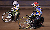 Heat 3: Mark Baldock (red) and Jakes Williams (white) - Lakeside Young Hammers vs Kings Lynn Lightning, Anglian Junior League Speedway at the Arena Essex Raceway, Pufleet - 22/06/12 - MANDATORY CREDIT: Rob Newell/TGSPHOTO - Self billing applies where appropriate - 0845 094 6026 - contact@tgsphoto.co.uk - NO UNPAID USE..