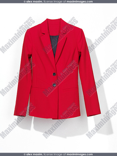 Red womens suit coat isolated on white background