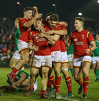 Wales U20s players celebrate Kieran Williams' (second left) fourth try<br /> <br /> Photographer Alex Dodd/CameraSport<br /> <br /> RBS Six Nations U20 Championship Round 4 - Wales U20s v Ireland U20s - Saturday 11th March 2017 - Parc Eirias, Colwyn Bay, North Wales<br /> <br /> World Copyright &copy; 2017 CameraSport. All rights reserved. 43 Linden Ave. Countesthorpe. Leicester. England. LE8 5PG - Tel: +44 (0) 116 277 4147 - admin@camerasport.com - www.camerasport.com