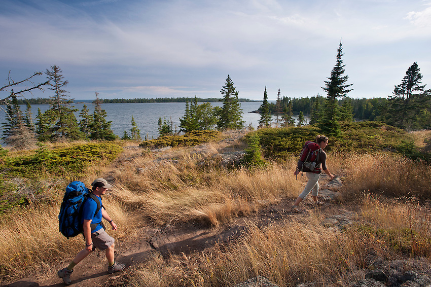 Backpacking on Isle Royale National Park near Rock Harbor.