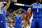 Terrence Jones throws his hands up at a call made by the refereein the second half of UK's Sweet 16 NCAA tournament game against Ohio State at the Prudential Center in Newark, New Jersey on Friday, March 25, 2011.  Photo by Britney McIntosh | Staff