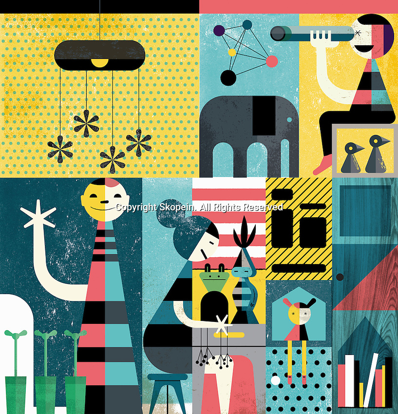 Abstract pattern of happy children playing indoors