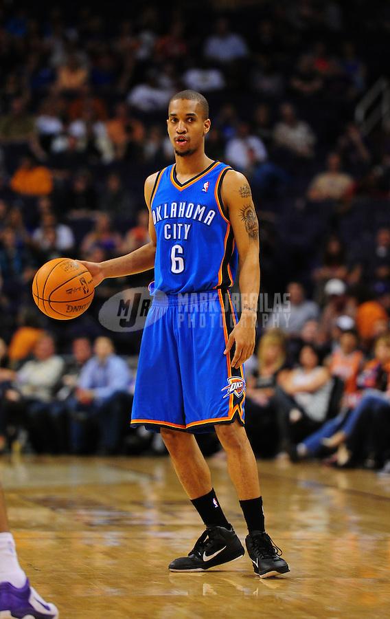 Mar. 30, 2011; Phoenix, AZ, USA; Oklahoma City Thunder guard (6) Eric Maynor against the Phoenix Suns at the US Airways Center. Mandatory Credit: Mark J. Rebilas-
