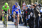 Mickael Delage (FRA) FDJ and Tom Van Asbroeck (BEL) Cannondale-Drapac climb La Houpe during the 60th edition of the Record Bank E3 Harelbeke 2017, Flanders, Belgium. 24th March 2017.<br /> Picture: Eoin Clarke | Cyclefile<br /> <br /> <br /> All photos usage must carry mandatory copyright credit (&copy; Cyclefile | Eoin Clarke)