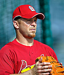 14 March 2007: St. Louis Cardinals catcher Gary Bennett warms up prior to facing the Washington Nationals at Roger Dean Stadium in Jupiter, Florida...Mandatory Photo Credit: Ed Wolfstein Photo