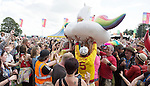 Electric Fields music festival at Drumlanrig Castle, Dumfries and Gallloway Scotland. Colonel Mustard crowd surfing in a inflatable unicorn