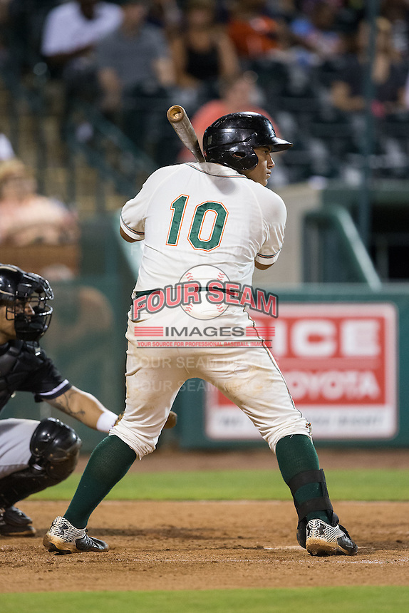 Josh Naylor (10) of the Greensboro Grasshoppers at bat against the Kannapolis Intimidators at NewBridge Bank Park on July 7, 2016 in Greensboro, North Carolina.  The Dash defeated the Pelicans 13-9.  (Brian Westerholt/Four Seam Images)
