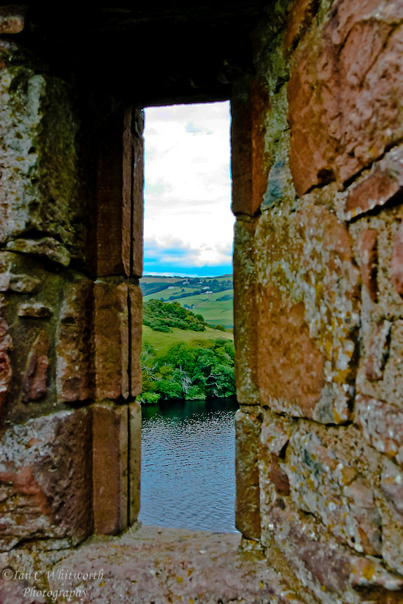 Looking out a castle window at Loch Ness