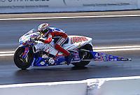 Jun. 1, 2013; Englishtown, NJ, USA: NHRA pro stock motorcycle rider Hector Arana Jr during qualifying for the Summer Nationals at Raceway Park. Mandatory Credit: Mark J. Rebilas-
