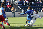 27 November 2010: Amy Rodriguez (USA) (8) scores the game's only goal past Laura Neboli (ITA) (6). The United States Women's National Team defeated the Italy Women's National Team 1-0 in the second leg of their 2011 FIFA Women's World Cup Qualifier playoff at Toyota Park in Bridgeview, Illinois. The U.S. won the series 2-0 on aggregate goals to advance.