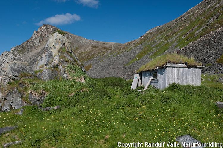 Hytte i Sandfjorden ved Kinnarodden. ---- Old cabin.