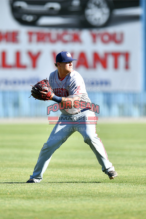 Hagerstown Suns shortstop Sheldon Neuse (16) makes a cutoff and makes a throw during a game against the  Asheville Tourists at McCormick Field on May 13, 2017 in Asheville, North Carolina. The Suns defeated the Tourists 9-5. (Tony Farlow/Four Seam Images)