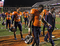Nov 13, 2010; Charlottesville, VA, USA;  Virginia players return to the locker room after the 42-23 loss to Maryland during their final home game at Scott Stadium.  Mandatory Credit: Andrew Shurtleff-