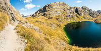 Routeburn Track near Harris Saddle with Lake Harris on right, Conical Hill centre, Mt. Aspiring National Park, UNESCO World Heritage Area, Central Otago, New Zealand, NZ