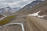 Brocken guard rail from falling rocks along the James Dalton Highway, Atigun pass, Brooks range, Alaska.