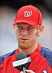 25 September 2011: Washington Nationals pitcher Stephen Strasburg is interviewed prior to a game against the Atlanta Braves at Nationals Park in Washington, DC. The Nationals shut out the Braves 3-0 to take the rubber match third game of their 3-game series - the Nationals' final home game for the 2011 season. Mandatory Credit: Ed Wolfstein Photo