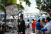 An Obama supporter outside of the Convention Center in Charlotte on Wednesday September 5th 2012.
