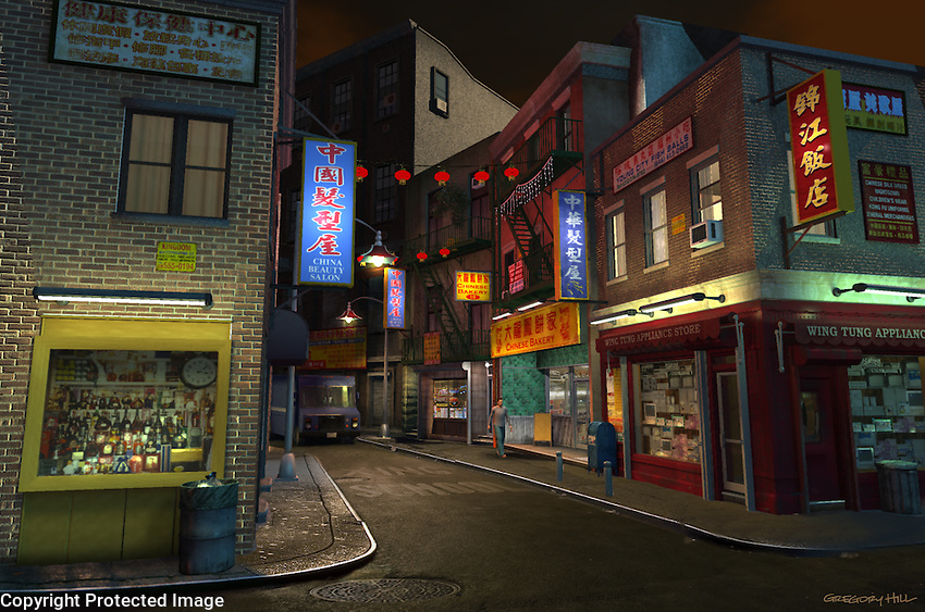 This is a 3D model based on Doyers Street in New York City.