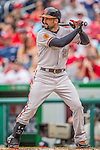 27 May 2013: Baltimore Orioles outfielder Nick Markakis in action against the Washington Nationals at Nationals Park in Washington, DC. The Orioles defeated the Nationals 6-2, taking the Memorial Day, first game of their interleague series. Mandatory Credit: Ed Wolfstein Photo *** RAW (NEF) Image File Available ***