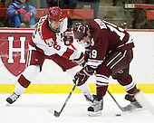 Alex Fallstrom (Harvard - 16), Austin Mayer (Colgate - 19) - The Harvard University Crimson defeated the visiting Colgate University Raiders 6-2 (2 EN) on Friday, January 28, 2011, at Bright Hockey Center in Cambridge, Massachusetts.