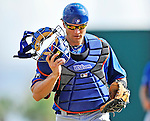 10 March 2012: New York Mets catcher Lucas May in action during a Spring Training game against the Washington Nationals at Space Coast Stadium in Viera, Florida. The Nationals defeated the Mets 8-2 in Grapefruit League play. Mandatory Credit: Ed Wolfstein Photo